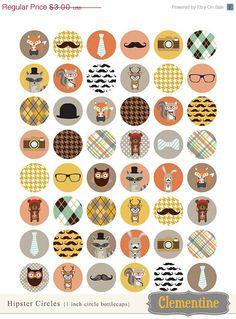 40% OFF SALE Hipster bottle cap images, bottlecap images, one inch circles, royalty-free, digital collage sheet- Instant Download