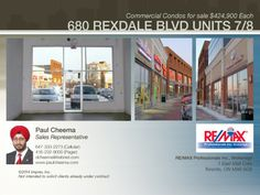 680 Rexdale blvd, units 7 and 8 together make over sf space with two washrooms. For details call Paul Sales Representative, Condos For Sale, Investment Property, Investing, Commercial, The Unit, Space, Business, Floor Space