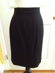 CHANEL Black Wool  Pencil Chic Classic Wool Skirt, Sz 44, waist 30 Reg $1,450 #CHANEL #StraightPencil