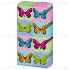 Mouchoirs en papier imprimé papillons pop art - paquet de 10