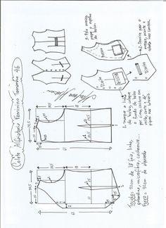 Esquema de modelagem de colete feminino alfaiataria tamanho 46 - #moldes #dicas #moda