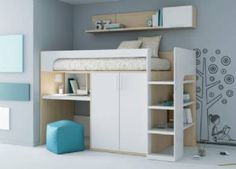 Cama con ropero abajo : cama alta con modulo de armario debajo,escritorio extraible y ...