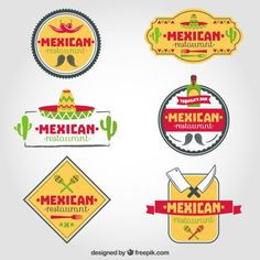 Set of mexican restaurant logos Free Vector
