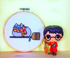 Pusheen Cat Harry potter Cross Stitch Embroidery Hoop