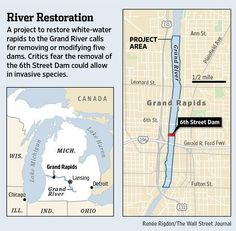 A project to restore white-water rapids to the Grand River calls for removing or modifying 5 dams.