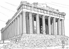 Greek architecture coloring pages Parthenon Greece, Greece Drawing, Ancient Greek Costumes, Sketch Tattoo Design, Neoclassical Architecture, Ancient Greek Architecture, Perspective Drawing, Ancient Greece, Colouring Pages