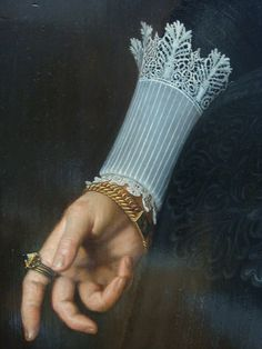 Portrait of a Woman Aged 34 Years, - Nicolaes Eliaszoon Pickenoy, detail, 1634.