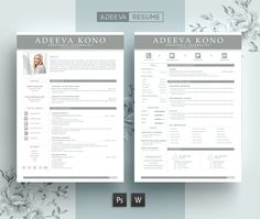 Professional Resume Template Kono by AdeevaResume on Cover Letter Template, Cv Template, Letter Templates, Resume Templates, Design Templates, Templates Free, Resume Cv, Resume Design, Manager Resume