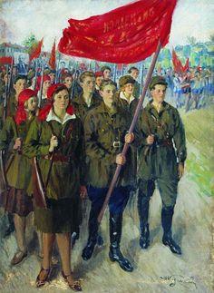 The Soviet Broadcast, International Youth Day, 1929 ☭ Communist Propaganda, Propaganda Art, Russian Painting, Russian Art, International Youth Day, Bolshevik Revolution, Social Realism, Steampunk, Russian Revolution