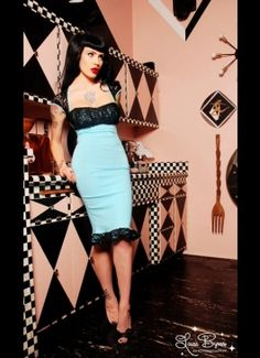 The Micheline Dress in Tiffany Blue with Black Lace