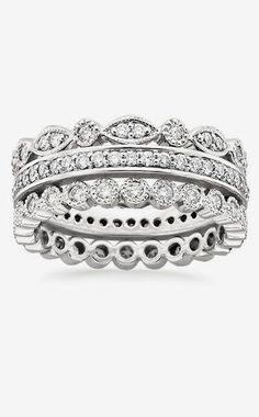 kids or anniversary stack White Gold Luxe Antique Eternity Diamond Ring Stack ct.) from Brilliant Earth Diamond Stacking Rings, Eternity Ring Diamond, Stackable Rings, Eternity Bands, Brilliant Earth, Wedding Rings For Women, Wedding Bands, Or Rose, Rose Gold