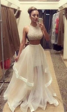 2015 Sexy hot Champagne Two Piece Prom Dresses Women Long Evening Party Dress
