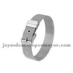 pulsera de cinturon plateado en acero inoxidable - SSBTG674088