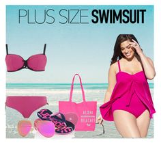 """Pretty Plus-Size Swimsuit"" by mery-2601 ❤ liked on Polyvore featuring Lauren Ralph Lauren, Superdry, Ray-Ban, Curvy Kate and plusswimsuit"