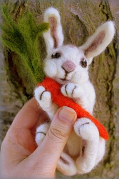 Cute needle felted bunny with carrot