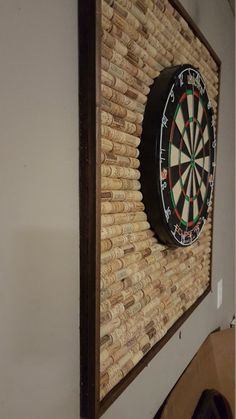 Wine Cork Dartboard Backer Protect your wall from stray darts w., Wine Cork Dartboard Backer Protect your wall from stray darts with this unique dartboard backer made with over 400 wine corks. Basement Makeover, Basement Renovations, Camper Makeover, Dartboard Backer, Dartboard Surround Diy, Dartboard Ideas, Game Room Basement, Basement Plans, Garage Game Rooms