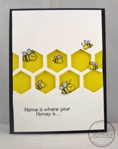 I'm sharing two cards today. The first card showcases the Bee Happy stamp set from A. Hexagon Cards, Honey Bee Stamps, Bee Cards, Marianne Design, Animal Cards, Card Kit, Cool Cards, Scrapbook Cards, Homemade Cards