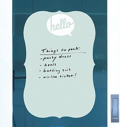 Hello, Hola, Bonjour! This Wallies' set of 3 dry erase sheets is a fun and colorful way to write notes and messages. Completely peel-and-stick, leaving no residue. Mix and match!