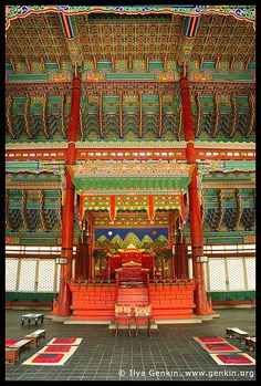 The Throne at Geunjeongjeon Hall at Gyeongbokgung Palace in Seoul, South Korea