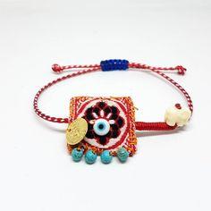 Boho bracelet March bracelet martis bracelet evil eye bracelet protection bracelets gift for her bohemian bracelet adjustable bracelet Fabric Bracelets, Fabric Jewelry, Beaded Jewelry, Beaded Bracelets, Jewellery, Bohemian Bracelets, Evil Eye Bracelet, Moon Earrings, Minimalist Earrings