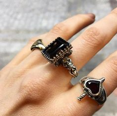 The Square Gem Ring and Heart & Dagger Ring both seen here with Faceted Garnet. #thegreatfrog #thegreatfrogla #thegreatfrogldn @thegreatfrogldn