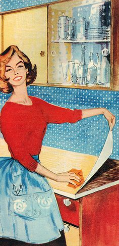 Vintage Happy Housewife is such an expert at applying contact paper that she can do it without looking!  Show off.  (Detail from a Fablon advertisement.)