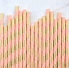 Coral & Gold Foil Paper Straws: Stripe