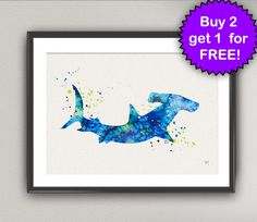 SHARK Nº3 Watercolor Art Print - Hammer Head Sea Life Ink Painting Underwater illustrations Art Print Art Poster Giclée Wall Decor Art Home
