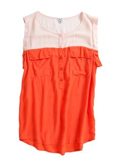 Splendid Colorblocked Henley in Hot Coral/Blush