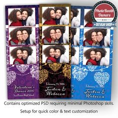 This simply dazzling photo booth template is completely perfect with the romantic patterned background and accented with beautiful strings of pearls and hanging, organic hearts. Any wedding, sweatheart dance or formal affair as well as Valentines's Day would be a great match for this template. All elements can be customized to suite your events.