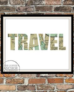Travel. 8x10 Map Art Print, Typographic, World, Home Decor Print. Instant Digital Download. Printable Wall Art - ADOPTION FUNDRAISER on Etsy, $5.00