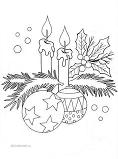 Ideas Drawing Christmas Cards Coloring Pages For 2019 Christmas Colors, Christmas Art, Christmas Ornaments, Christmas Candles, Christmas Decorations, Christmas Coloring Pages, Coloring Book Pages, Christmas Drawing, Christmas Embroidery