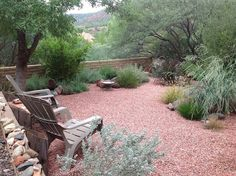 Use of hard scape, pebbles to cc over yard area and drought resistant plants and grasses...