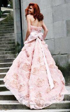 Gorgeous pink floral wedding dress