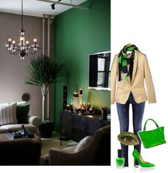 """Green/Tan/Black"" by tonya-woods on Polyvore"