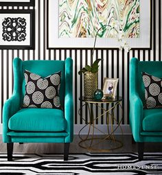 This emerald arm chair and black and white printed cushion are the perfect bold colour pair to transition from summer to fall. #geometric #rug #colour #year #decor #ideas #accent / Ce fauteuil émeraude et ce coussin imprimé noir et blanc constituent une combinaison de couleurs parfaites pour passer de l'été à l'automne. #geometrique #tapis #couleur #annee #deco #idees #decoratif Enter Contest:  www.HomeSense.ca/HomeSenseStyle Participer: www.HomeSense.ca/HomeSenseStyleFr #HomeSenseStyle