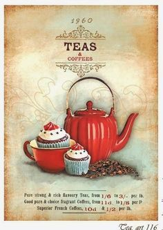 Get your hands on a customizable Tea postcard from Zazzle. Find a large selection of sizes and shapes for your postcard needs! Vintage Tea, Vintage Labels, Vintage Cards, Vintage Country, Vintage Kitchen, Posters Vintage, Vintage Prints, Tee Kunst, Retro
