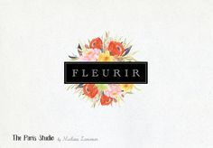 Watercolor Floral Wreath Vintage Badge Logo Design by Madame Levasseur, The Paris Studio