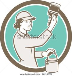 Illustration of a female house painter painting holding paintbrush and paint can set inside circle on isolated background done in retro style. House Painter, Retro Vector, Paint Cans, Paint Brushes, Retro Fashion, Retro Illustrations, Stock Photos, Vector Stock, Female