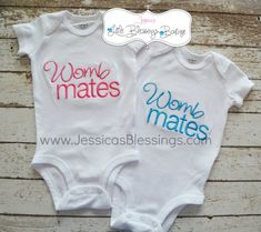 Womb Mates - twins - baby shower - infant onesie on Etsy, $34.00 @Dustie Baker