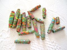 """Metallic Neon Brights Tyvek Beads, Set of 12 """"Riding the Carousel""""  Upcycled Fun...."""