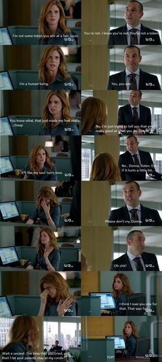 Louis Litt and Donna Paulsen. Suits: Louis trys to get Donna to work for him instead of having her work for Harvey.