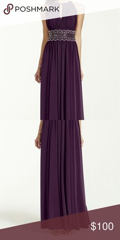 Floor length plum  bridesmaid dress Only worn once.. It has amazing beading David's Bridal Dresses