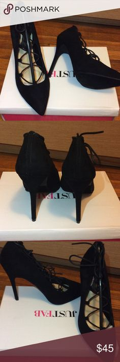 "Black Pointed Heels Black faux suede heels. Has laces that tie up around the ankle. Heel height is approx. 3.75"". Can be worn to the office or a night out on the town. JustFab Shoes Heels"