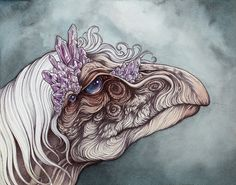 """caitlinhackettart: """" The Eldest of the Mystics, this original by piece was inspired by """"The Dark Crystal"""", this painting is available for sale now through Gallery 1988 West at. Dark Crystal Movie, The Dark Crystal, Aliens, Crystal Tattoo, Mythical Creatures, Mythology, Illustration, Mystic, Fantasy Art"""