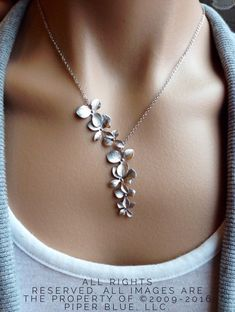 Silver Orchid Cascade Necklace - gift, wedding, sterling silver, bridesmaid, bridal, Mother's Day, daughter, romantic, botanical by PiperBlue on Etsy https://www.etsy.com/listing/172247678/silver-orchid-cascade-necklace-gift