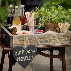 "I love the ""Pimp your Prosecco"" bar on our booth.- I love die ""Pimp your Prosecco"" Bar auf unserer standesamtlichen Hochzeit! Ide… I love the ""Pimp your Prosecco"" bar at our civil wedding! Idea and photo: # # proseccofüralle - Diy Wedding Bar, Rustic Wedding Decorations, Garden Wedding, Dress Wedding, Prosecco Bar, Pimp Prosecco, Civil Wedding, Diy Bar, Diy Décoration"