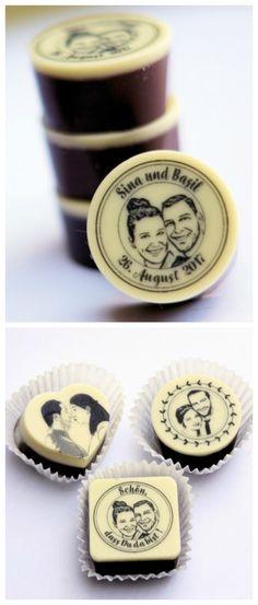 Schokopralinen mit Gesicht verziert ud individualisiert, Geschenk zur Hochzeit / wedding gift for wedding guests: customizable chocolate truffles made by Fotogruesse via DaWanda.com