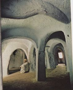 Thick unadorned walls assure a calm, cool spot for meditation in a mosque dedicated to Sidi Bou-Gdemma, 11th century founder of Ghardaia. Algeria, August 1973