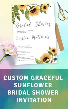 Graceful invitation for a bridal shower party featuring sunflower-inspired design and stylish font. Open the template in our online editor to add a personal touch and customize it as you want. Tags: shower template, bridal shower bundle, shower invitation Simple Bridal Shower, Bridal Shower Party, Bridal Shower Rustic, Bridal Shower Invitation Wording, Wedding Invitation Design, Invitation Ideas, Sunflower Wedding Invitations, Burgundy Wedding Invitations, Pre Wedding Party